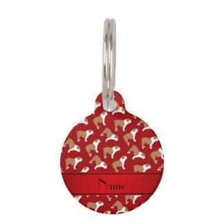 Personalized name red Bulldog Pet ID Tag
