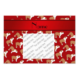 Personalized name red Bulldog Photo Print