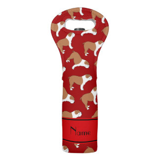 Personalized name red Bulldog Wine Bag
