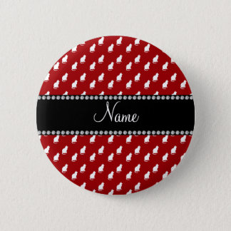 Personalized name red cat pattern button