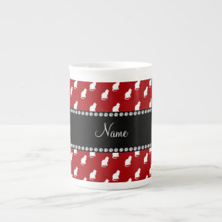 Personalized name red cat pattern porcelain mug