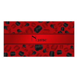 Personalized name red checkers game photo card
