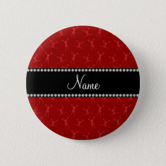 Personalized name red cheerleader pattern pinback button