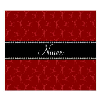Personalized name red cheerleader pattern posters