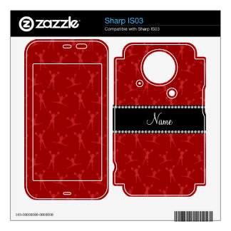 Personalized name red cheerleader pattern decal for sharp IS03