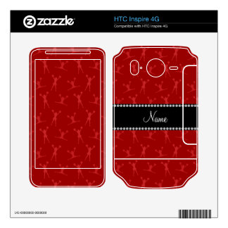 Personalized name red cheerleader pattern decal for HTC inspire 4G