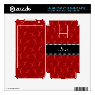 Personalized name red cheerleader pattern decal for LG optimus 2X