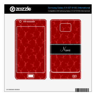 Personalized name red cheerleader pattern samsung galaxy s II decal