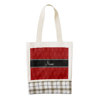 Personalized name red cheerleader pattern zazzle HEART tote bag