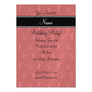 Personalized name red cheerleader pattern magnetic invitations