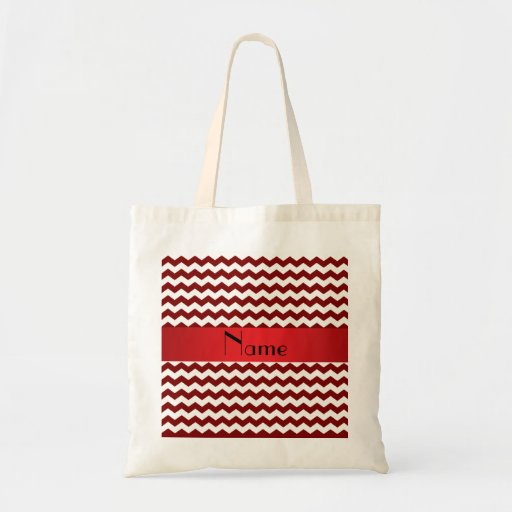 Personalized name red chevrons bag