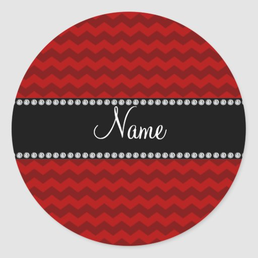 Personalized name red chevrons classic round sticker