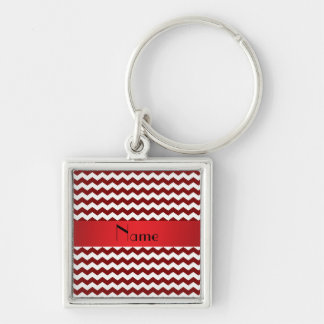 Personalized name red chevrons Silver-Colored square keychain