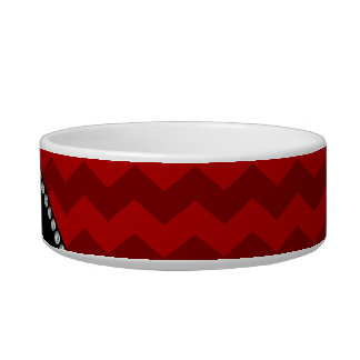 Personalized name red chevrons cat bowl