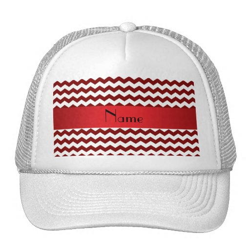 Personalized name red chevrons trucker hats