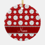 Personalized name red chevrons volleyballs Double-Sided ceramic round christmas ornament
