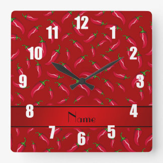Personalized name red chili pepper square wall clock