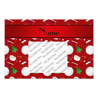 Personalized name red christmas golfing photograph
