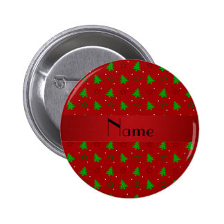 Personalized name red christmas stars pattern 2 inch round button