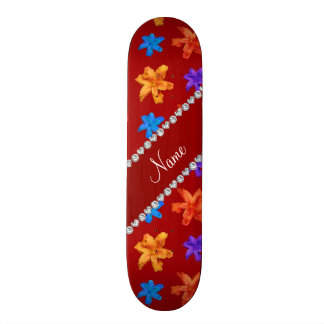 Personalized name red colorful lily flowers skate board