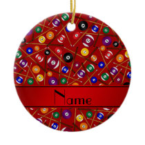 Personalized name red colorful pool pattern ceramic ornament