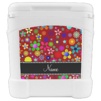 Personalized name red colorful retro flowers igloo rolling cooler