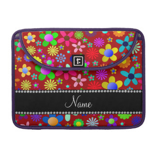 Personalized name red colorful retro flowers MacBook pro sleeves