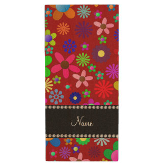 Personalized name red colorful retro flowers wood USB 2.0 flash drive