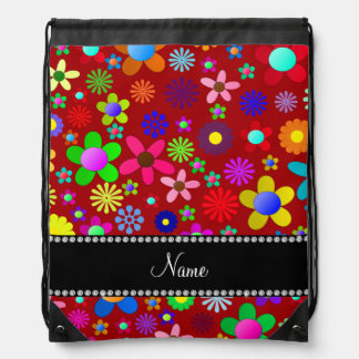 Personalized name red colorful retro flowers backpack