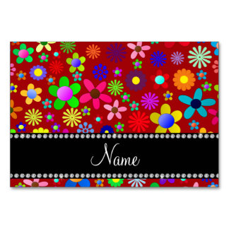 Personalized name red colorful retro flowers table cards