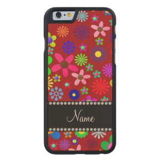 Personalized name red colorful retro flowers carved® maple iPhone 6 case