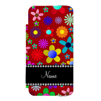 Personalized name red colorful retro flowers incipio watson™ iPhone 5 wallet case
