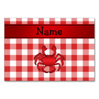 Personalized name red crab red picnic checkers table cards