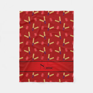Personalized name red cricket pattern fleece blanket