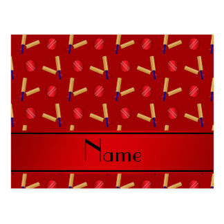 Personalized name red cricket pattern postcard
