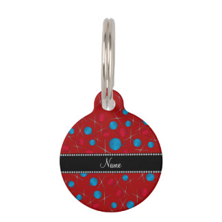 Personalized name red crochet pattern pet ID tag