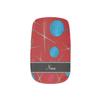 Personalized name red crochet pattern minx® nail wraps