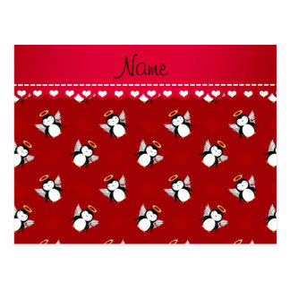 Personalized name red cupid penguins red hearts postcard