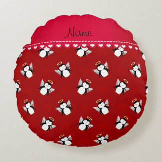 Personalized name red cupid penguins red hearts round pillow