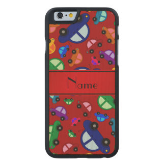Personalized name red cute car pattern carved® maple iPhone 6 case