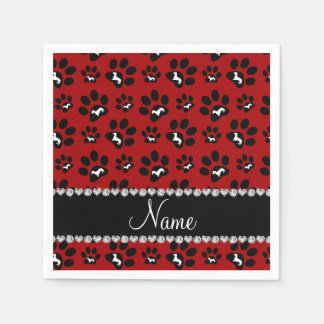 Personalized name red dachshunds dog paws paper napkin