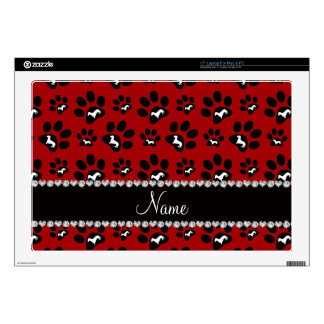 Personalized name red dachshunds dog paws laptop skin