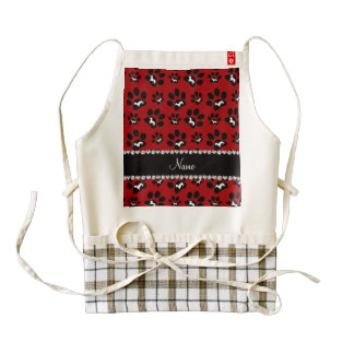 Personalized name red dachshunds dog paws zazzle HEART apron