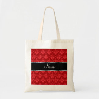 Personalized name Red damask Tote Bags