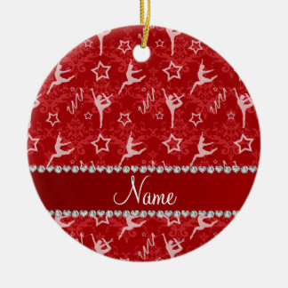 Personalized name red damask gymnastics ceramic ornament