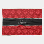 Personalized name Red damask Kitchen Towel