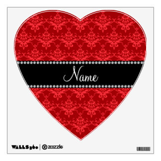 Personalized name Red damask Room Decal