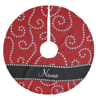Personalized name red diamond swirls brushed polyester tree skirt