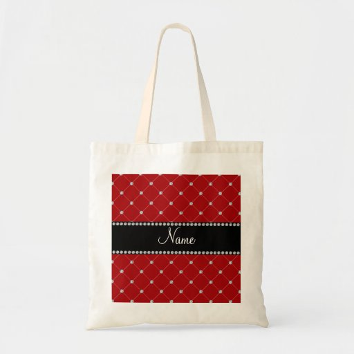 Personalized name Red diamonds Canvas Bag