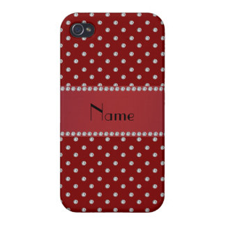 Personalized name red diamonds iPhone 4 cases